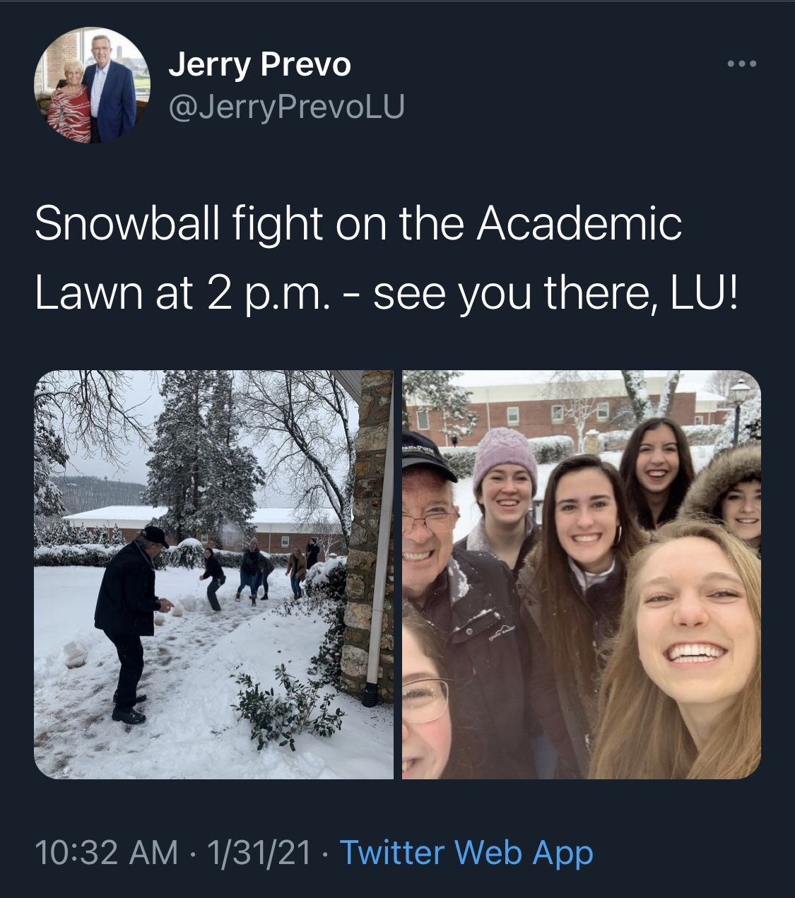 Liberty University Acting President Apologizes for Campus Snowball Fight That Didn't Follow Coronavirus Guidelines