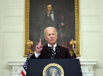 President Joe Biden speaks about combating the coronavirus pandemic, in the State Dining Room of the White House on Thursday, Sept. 9, 2021 in Washington, D.C..