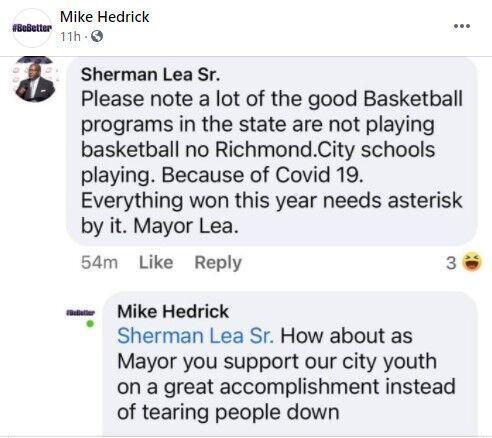 Mayor Sherman Lea's Facebook comment