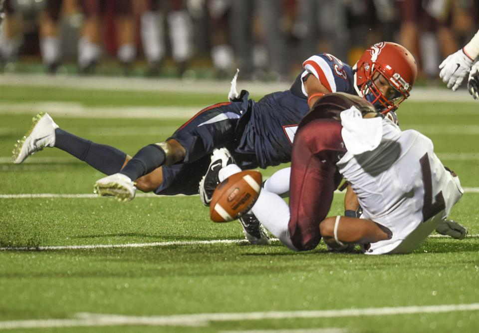 Liberty University defender Justin Guillory breaks up a pass intended for the University of Montana's Ellis Henderson during Saturday's contest at Williams Stadium. (Lee Luther, Jr./Lynchburg News and Advance)