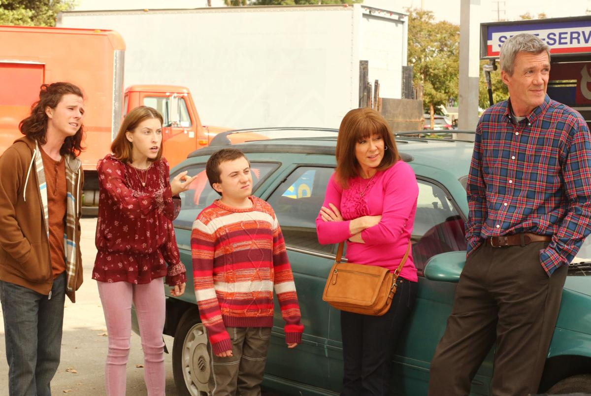 From Left Charlie McDermott As Axl Eden Sher Sue Atticus Shaffer Brick Patricia Heaton Frankie And Neil Flynn Mike In ABCs The Middle