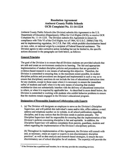 Amherst County Schools Resolution Agreement With Office For Civil