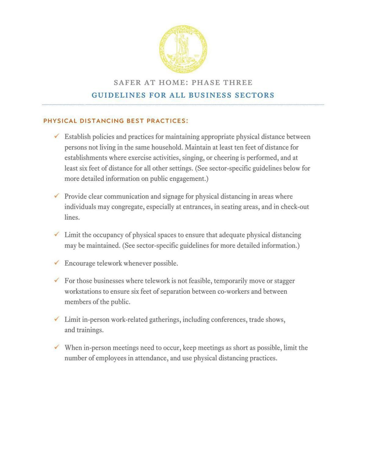 Virginia Phase Three Guidelines