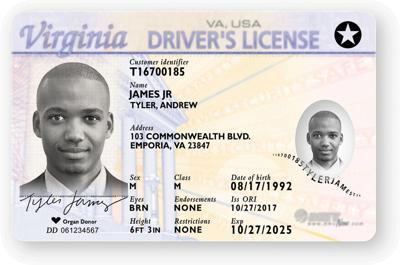 Sample Virginia Driver's License