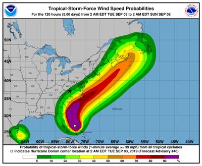 Dorian tropical storm probs