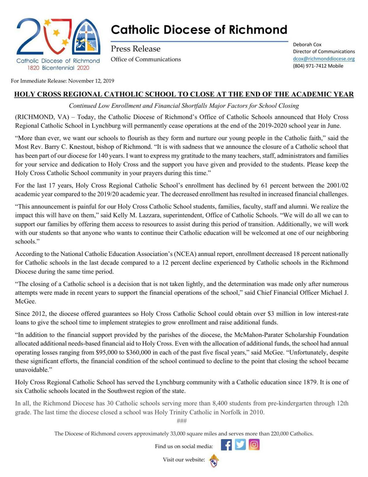 Catholic Diocese of Richmond Office release
