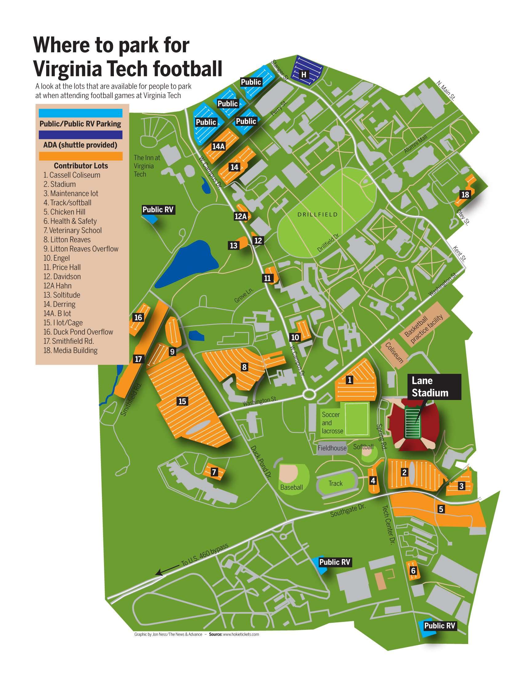 Virginia Tech Parking Map Parking Map | Site | newsadvance.com Virginia Tech Parking Map