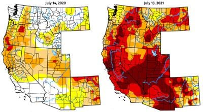 Mapped Western drought conditions for July 14, 2020 compared with July 13, 2021.
