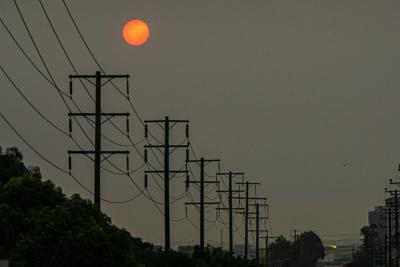 Red Sun with Wires