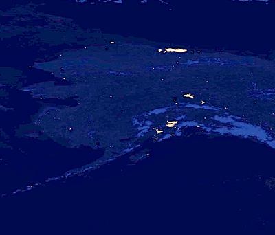 NASA photos show Alaska at night, highlighted by lights of ...