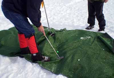 Shooting for par on the Bering Sea Ice Classic course
