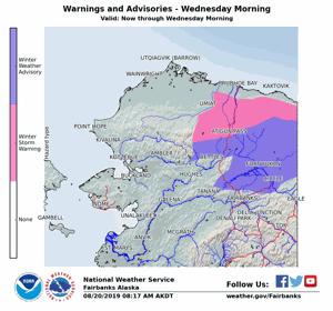 Snow advisory issued for eastern Interior Alaska