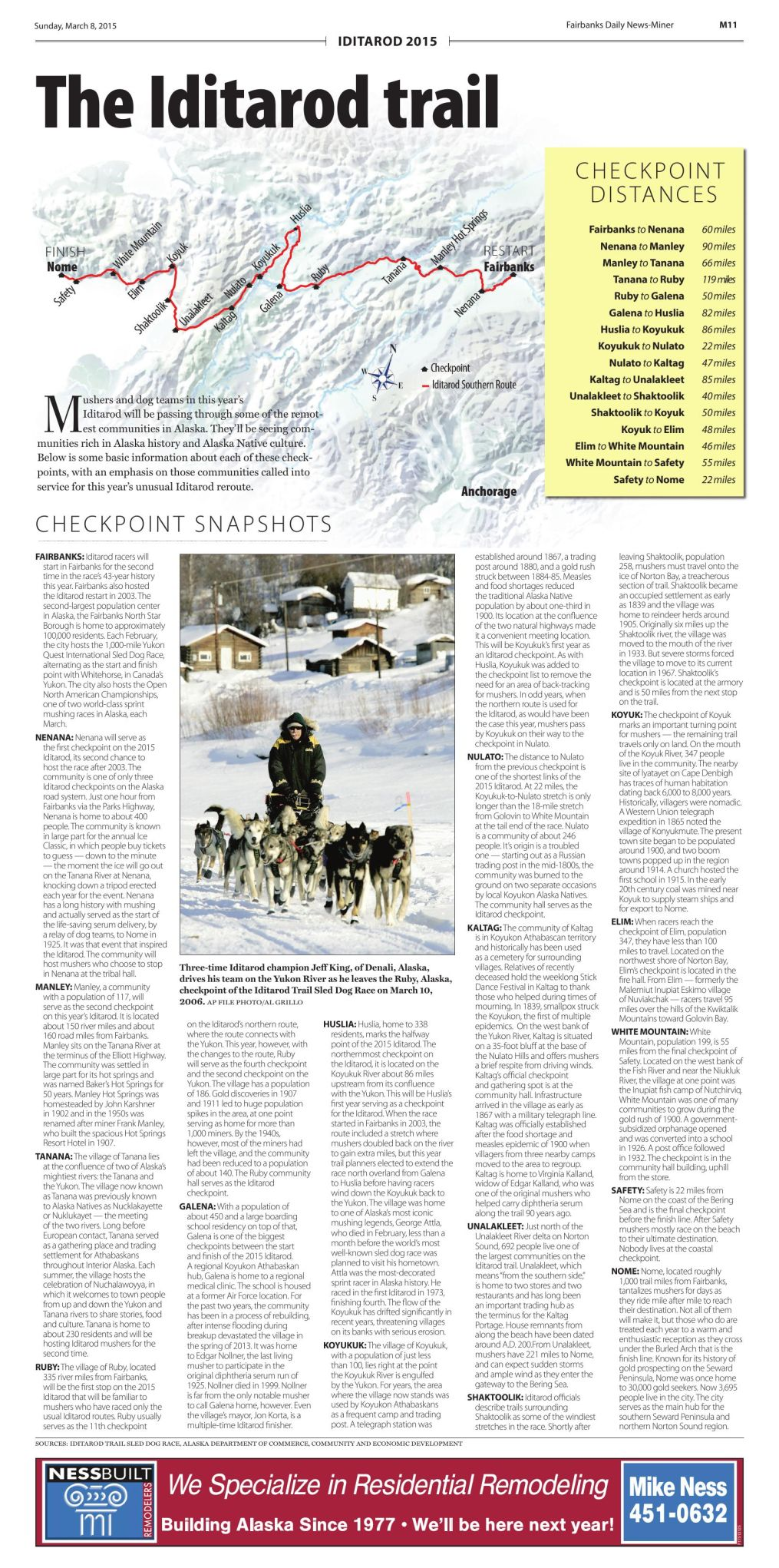 Iditarod map and checkpoint info
