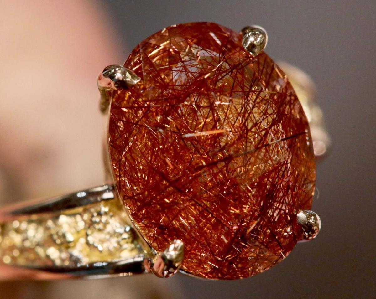 Alaskan rutilated quartz gemstone