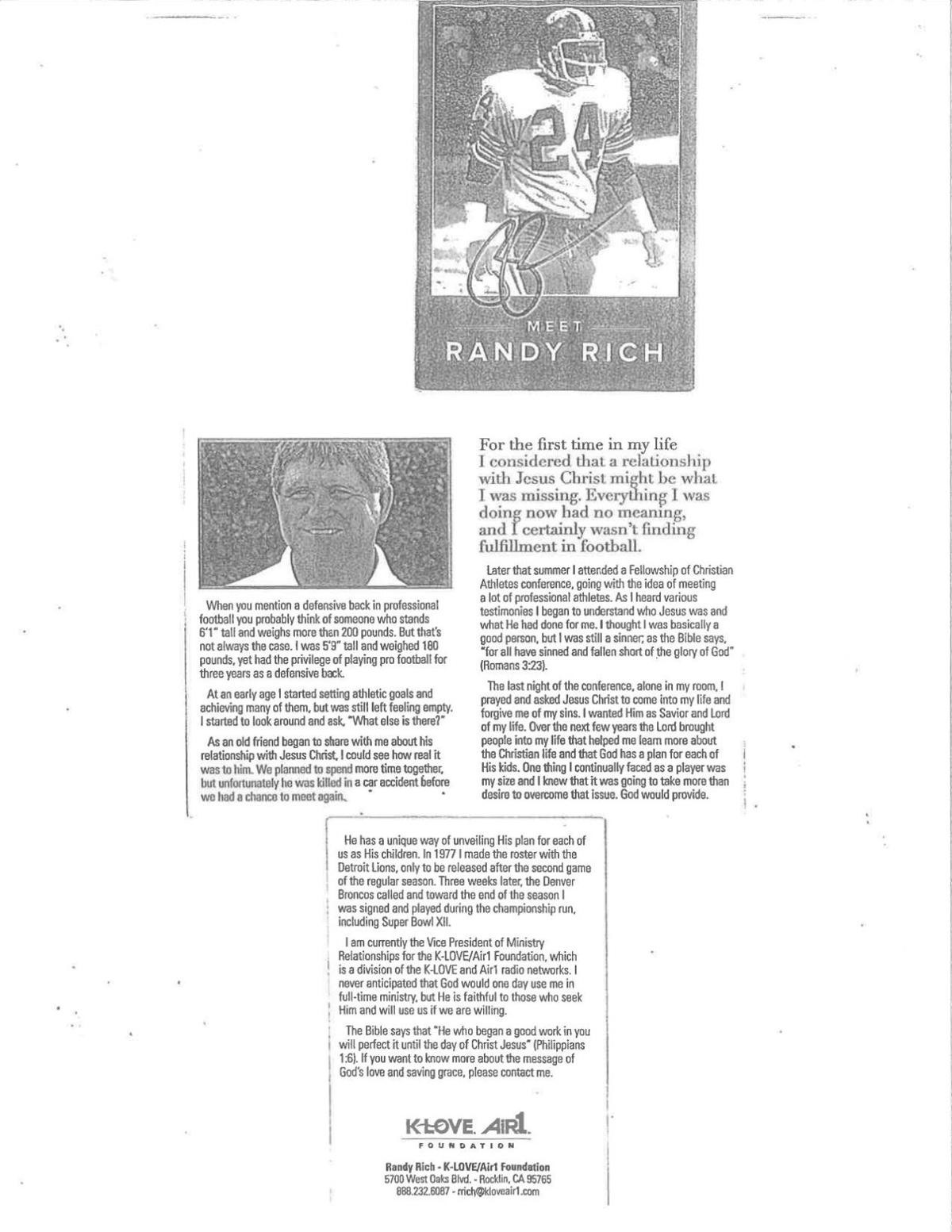 Randy Rich card