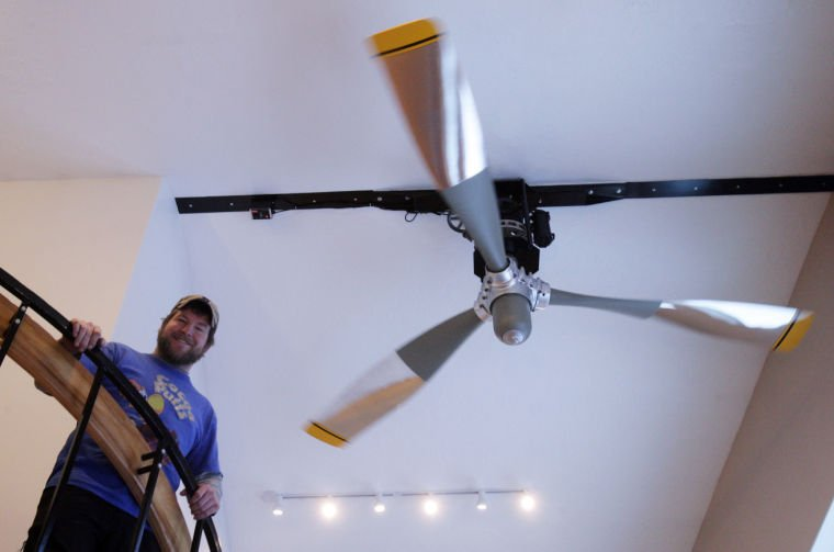 Ceiling Fan Prop : Pilot makes dc propeller the hub of his chena ridge home