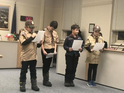 Boys scouts read Bill of Rights