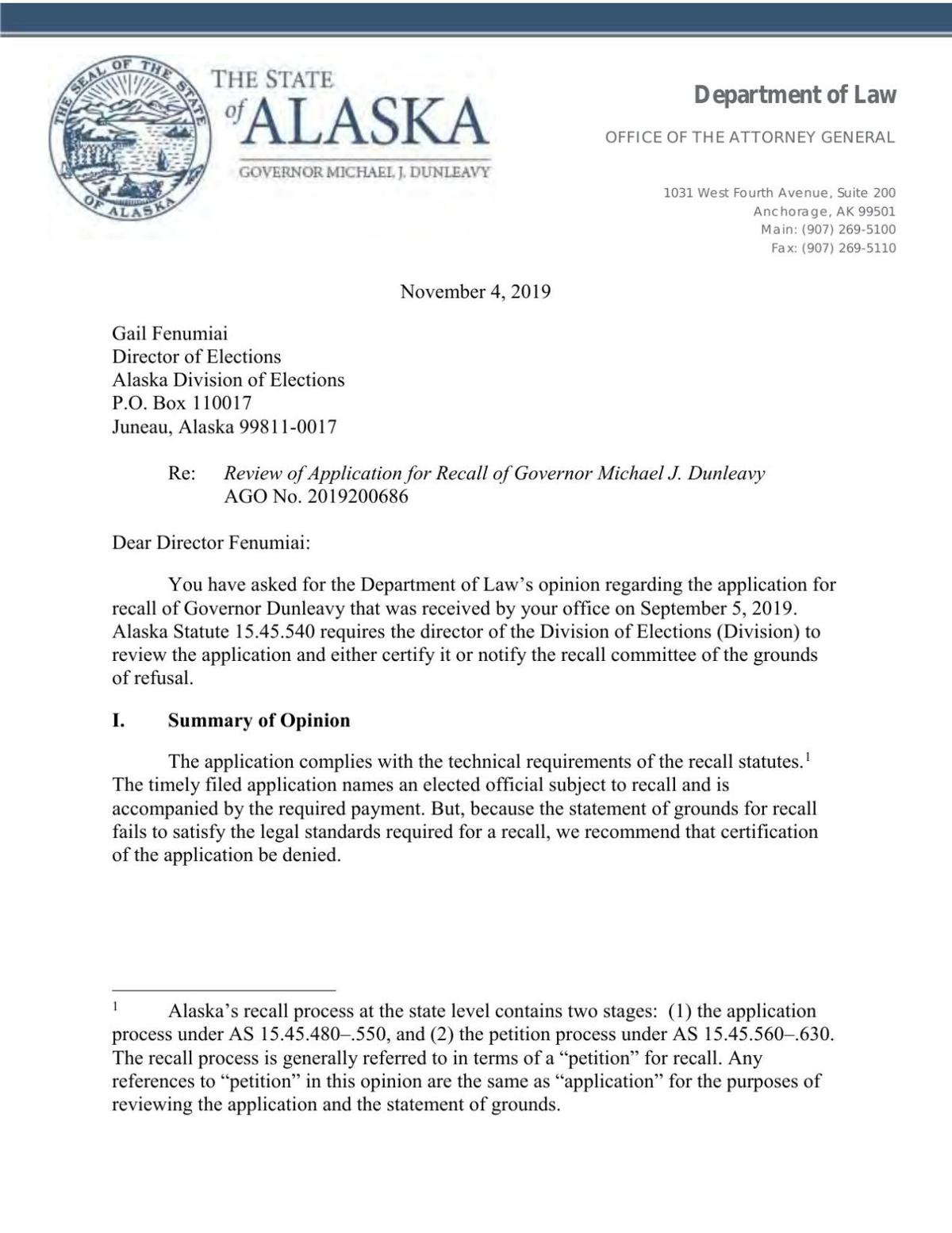 Review of Application for Recall of Governor Michael J. Dunleavy