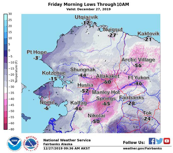 Cold temperatures in Interior Alaska