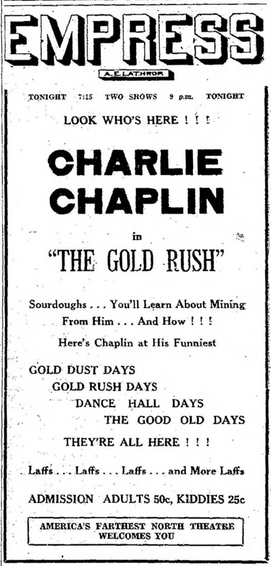 chaplin gold rush ad FDNM 8-8-1929