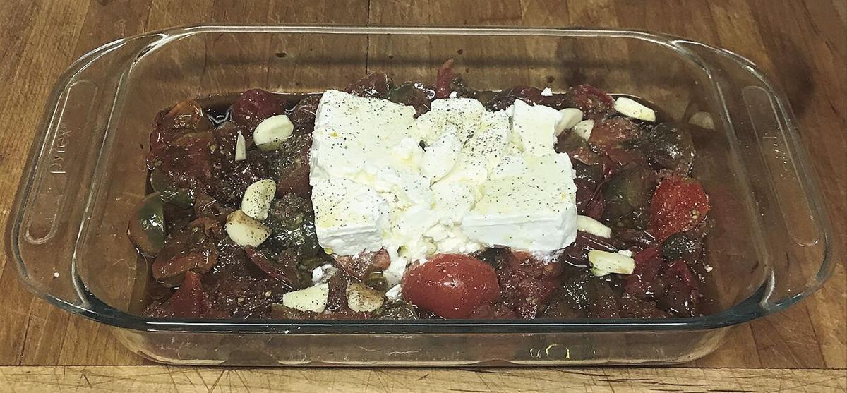 Tomato Feta Cheese Pasta Bake