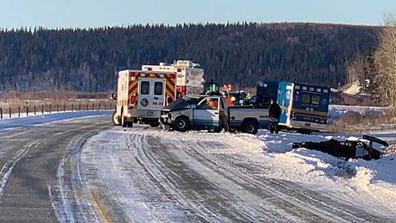 Scene of accident involving ambulance on Richardson Highway