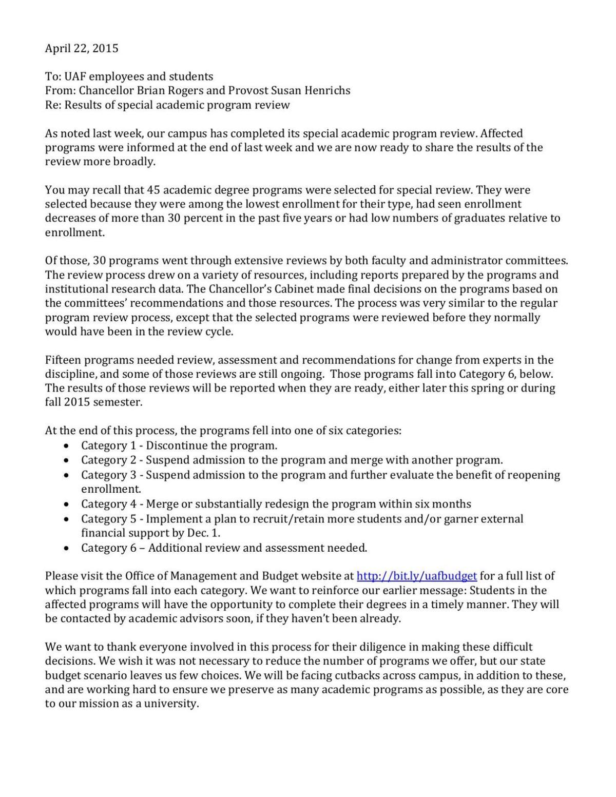 UAF program reduction memo | | newsminer com