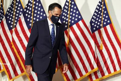 Mitt Romney arrives at the weekly Senate Republican policy luncheon at Hart Senate Office Building September 9, 2020, on Capitol Hill in Washington, D.C..