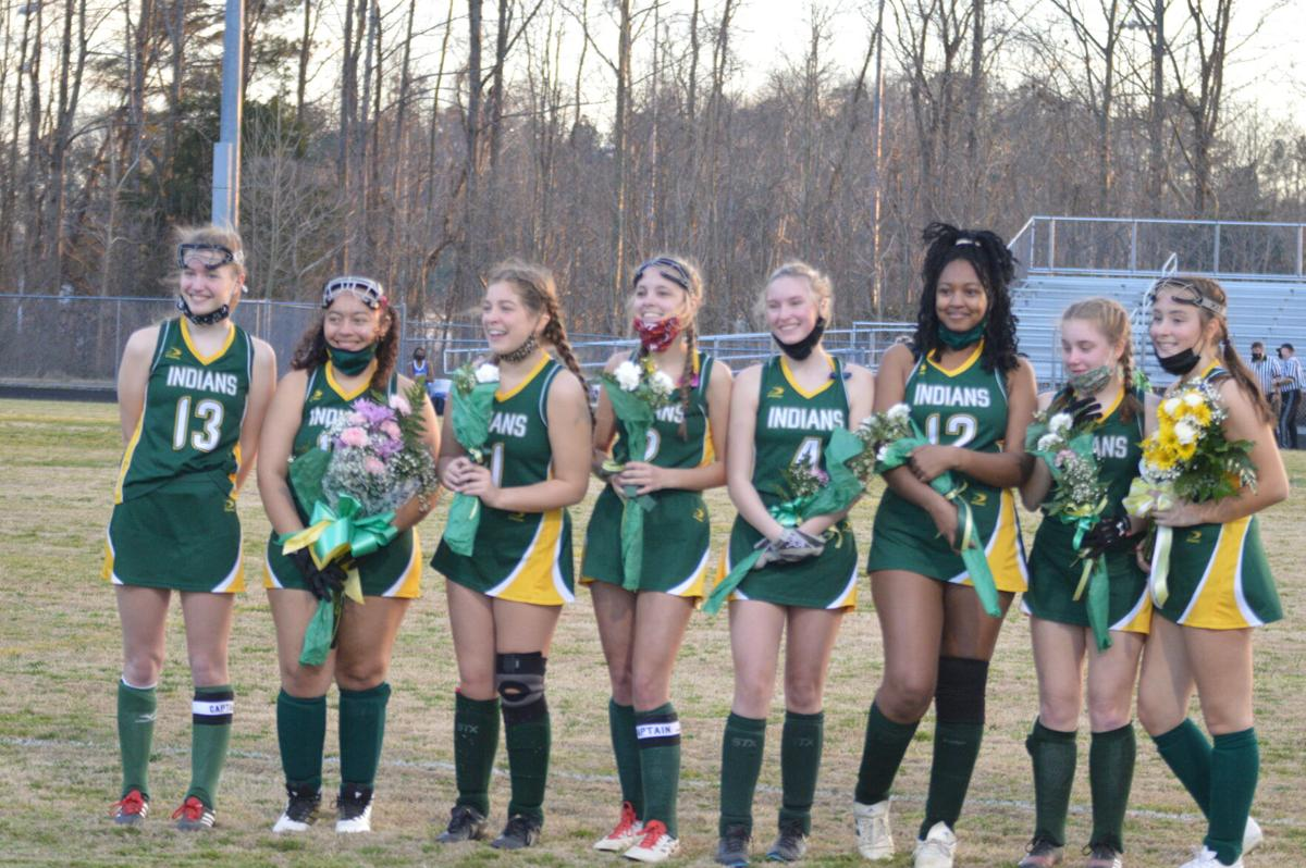 Lady Indian field hockey seniors for 2021, from left to right: Jayna Bramblet, Amaya Crabbe, Savannah Harris, Abby Gooch, Grace Blair, Arianna Hudson, Emily Rice, Lauren Rahn.
