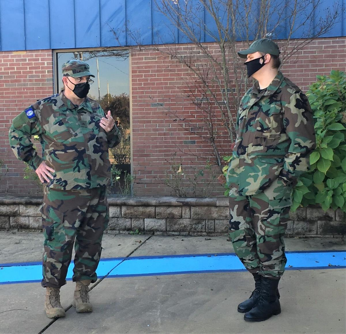 VDF Cadet Jesse Jett, a junior at W&L, discusses strategies with a VDF instructor.
