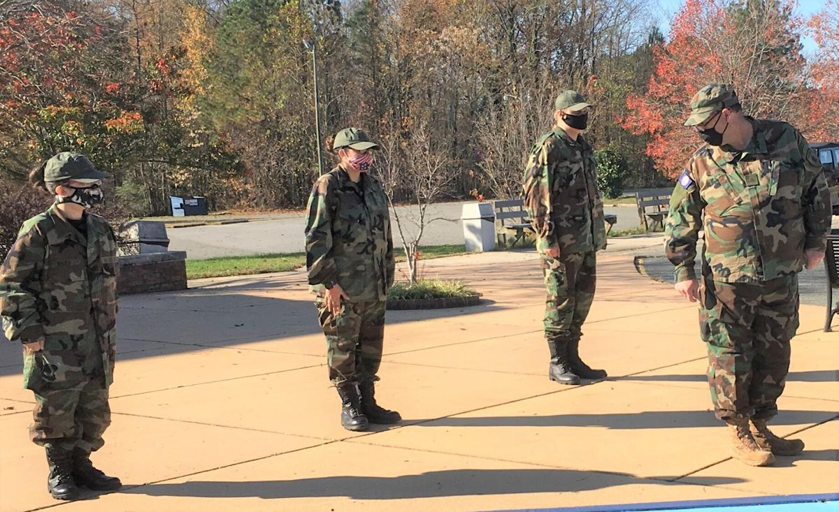 VDF Cadets learn the basic military moves at their first session.