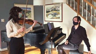 """Northern Neck Orchestra Music Director Michael Repper and violinist Adelya Shagidullina performing Clara Schumann's first """"Romanze"""" for piano and violin in the orchestra's new video program on the Romantic period."""