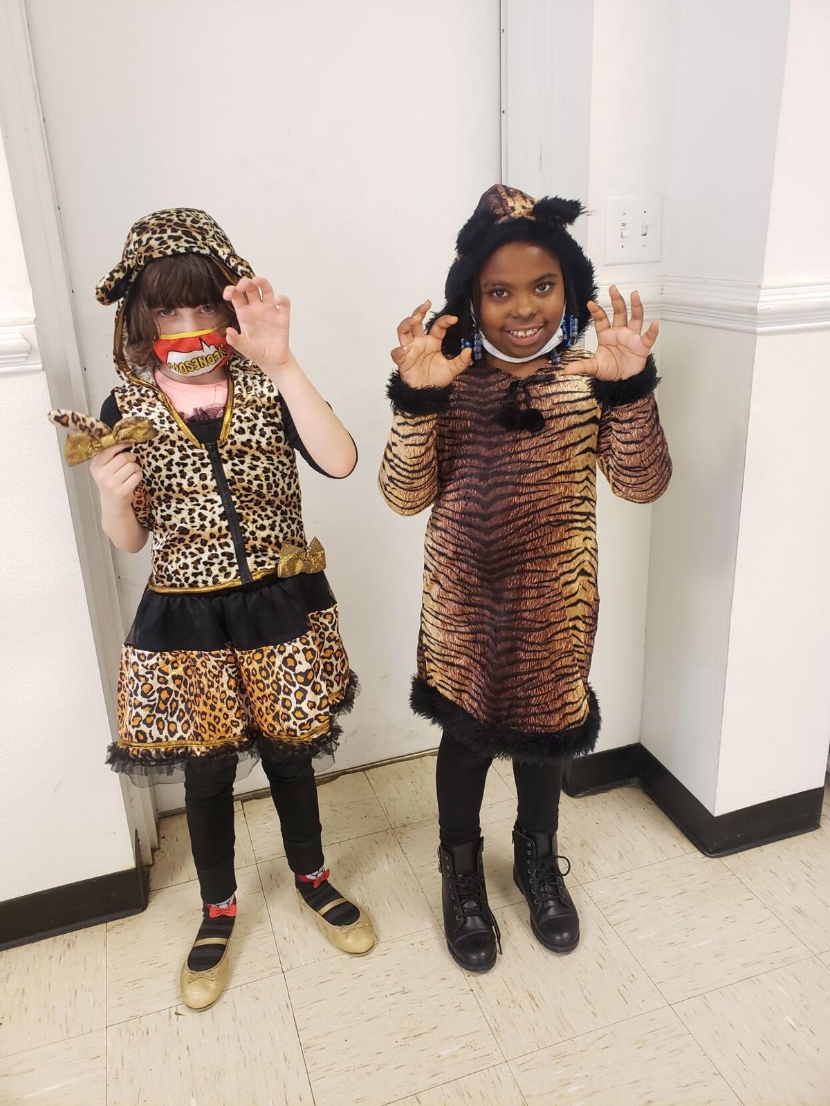 Abigail Cook and Maziah Betts looking fierce as cheetahs.