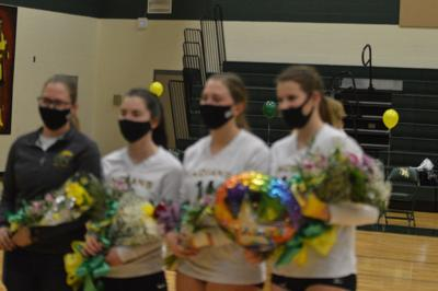 Lady Indian volleyball seniors for 2021 from left to right: Emily Burgess, Hailey Wallace, Ashley Burgess, Erianna O'Bier.