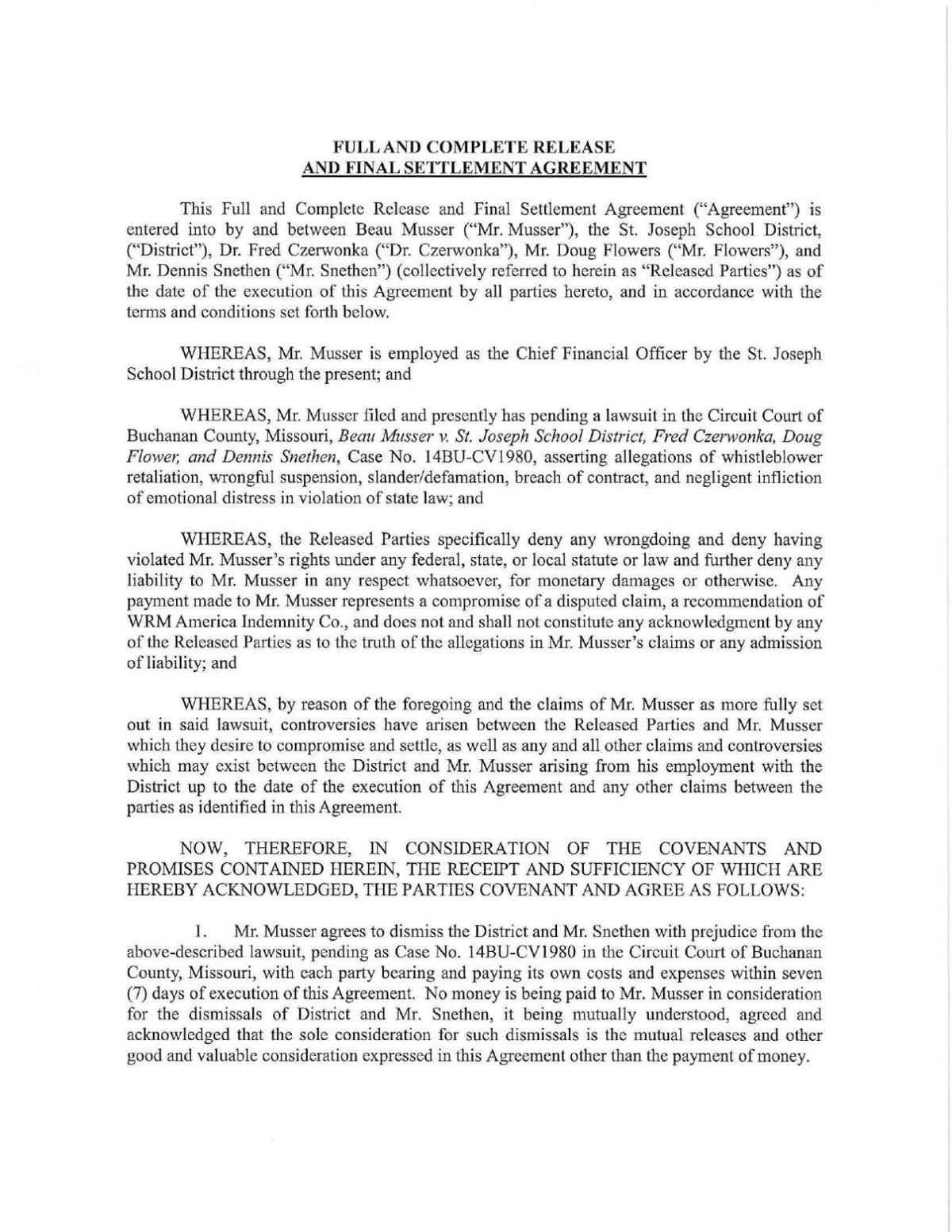 Musser Vs Sjsd Final Settlement Agreement Newspressnow