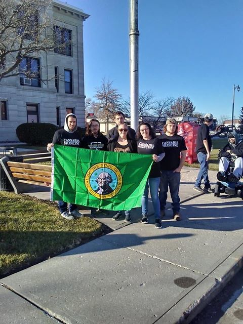 Protesters with flag