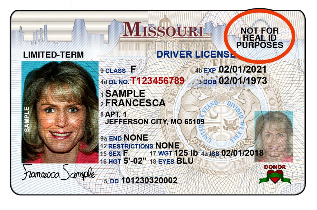 Sample of Missouri's invalid Real ID that has no star