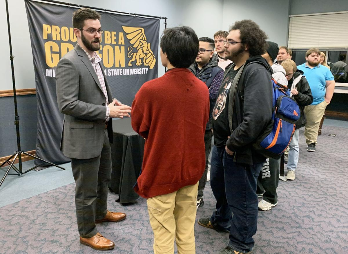 Christian Konczal talks with Missouri Western students