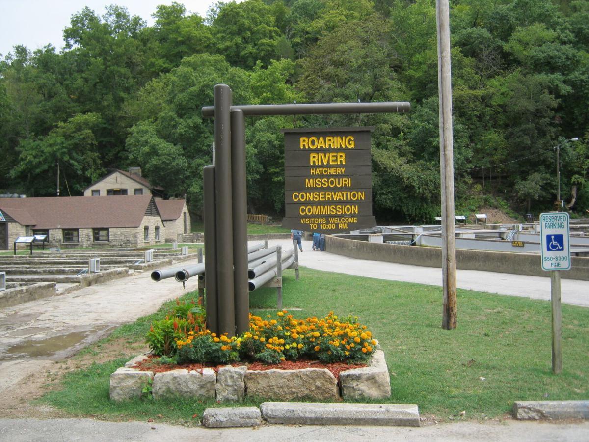 Roaring River Hatchery sign