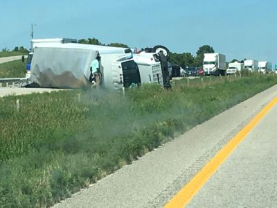 Semi-trailer truck overturn