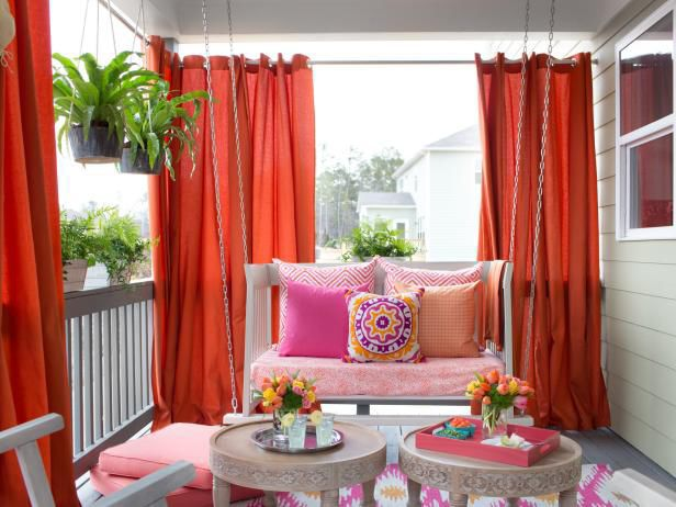 Create an outdoor room with patio curtains