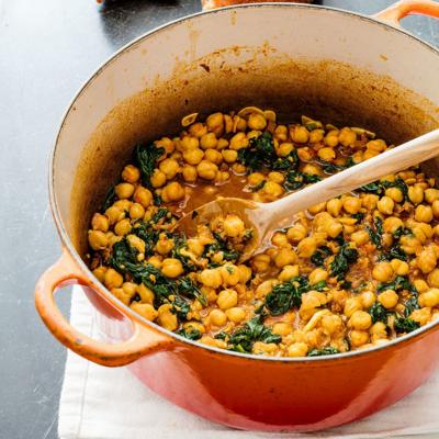 Food Column ATK Chickpeas with Spinach