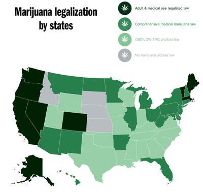 Present marijuana across the United States