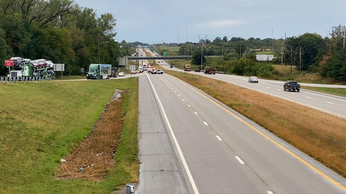 Law enforcement blocks traffic after semi-truck overturns on I-29