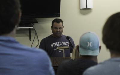 Matt Thrasher speaks at his induction ceremony