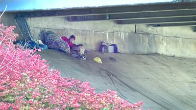 Homeless man under bridge