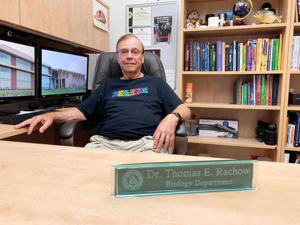 Professor Tom Rachow in his office