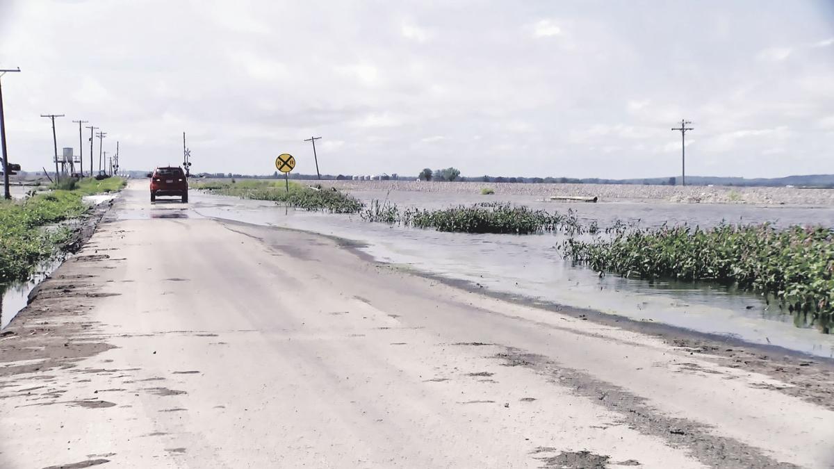 Flooded road near Watson