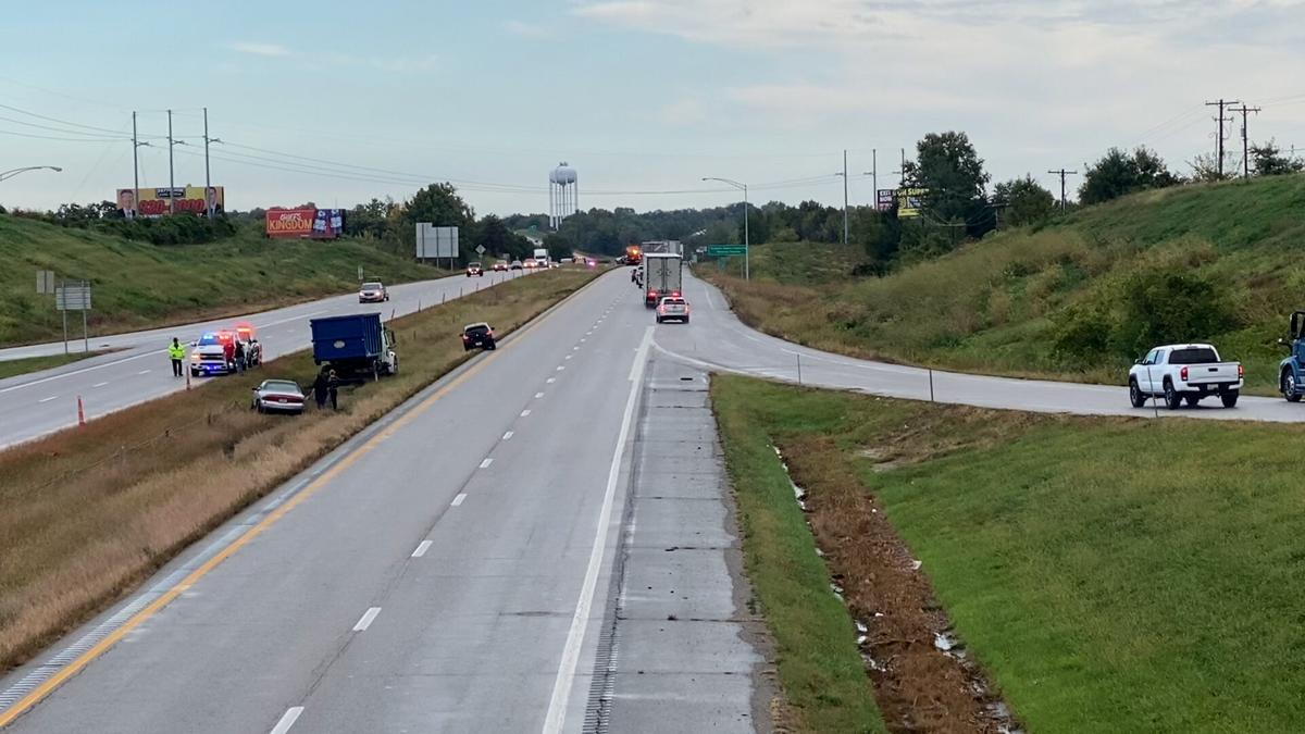 Semi-truck overturns on I-29 closing the roadway