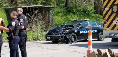Police vehicle involved in car crash
